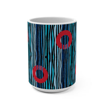 Load image into Gallery viewer, Red Circle Donuts on Light Blue Waves on Black Background Mug 15oz - PH