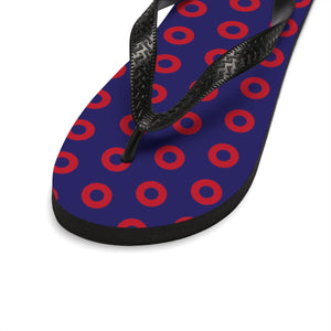 PH Red Circle Donut Unisex Flip-Flops - Small Donuts