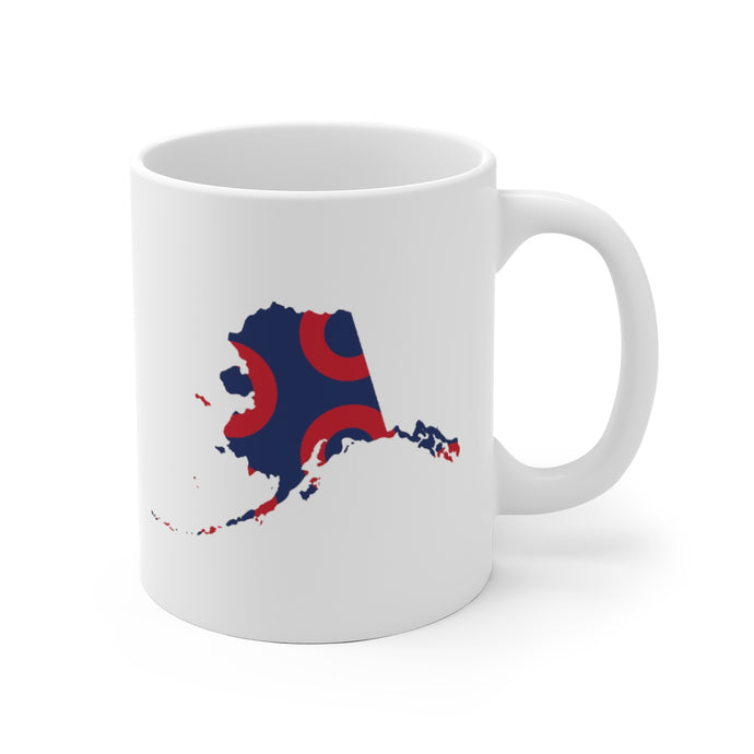 Alaska, Red Circle Donut Coffee Mug - State Shape - PH