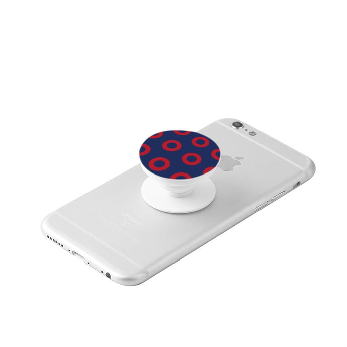 Red Henrietta Donut White Collapsible Grip & Stand for Phones and Tablets - PH