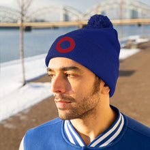 Load image into Gallery viewer, Red Circle Donut Embroidered Pom Pom Beanie