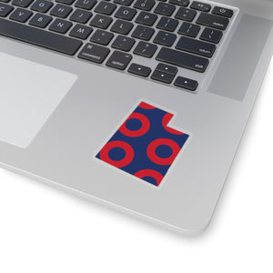 Utah, Red Circle Donut Sticker - State Shape - PH