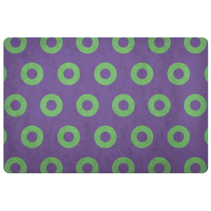 Green Donuts on Purple Doormat, Mexico 2019, Skewed Donuts, Door Mat