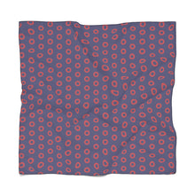 Load image into Gallery viewer, Red Henrietta Circle Donut Pattern Poly Chiffon Scarf