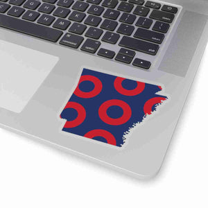 Arkansas, Red Circle Donut Sticker - State Shape - PH