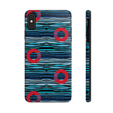 Load image into Gallery viewer, Red Circle Donuts on Light Blue Waves on Black Background Phone Cases - PH
