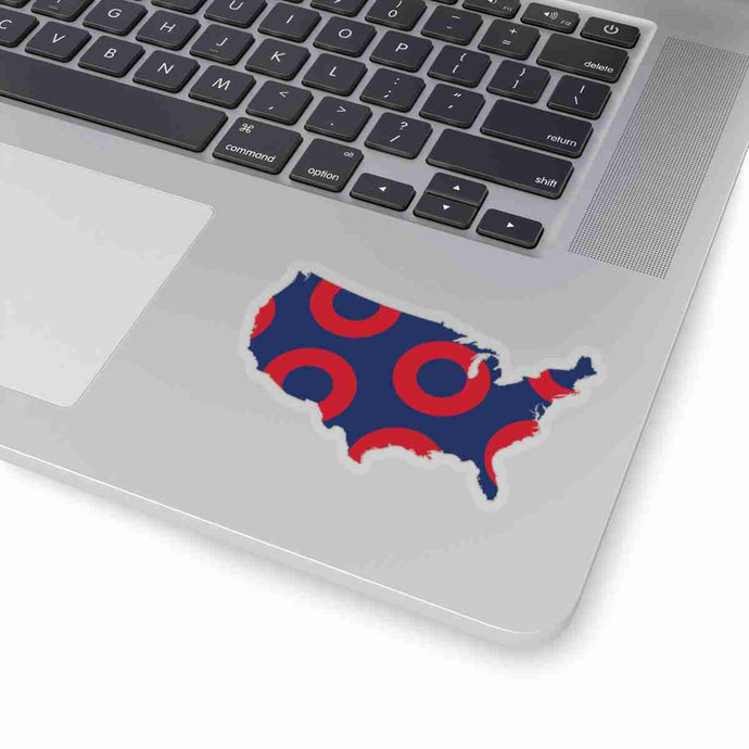 United States, Red Circle Donut Sticker - State Shape - PH