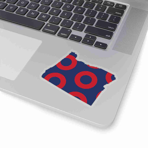 Oregon, Red Circle Donut Sticker - State Shape - PH