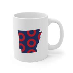 Arkansas, Red Circle Donut Coffee Mug - State Shape - PH