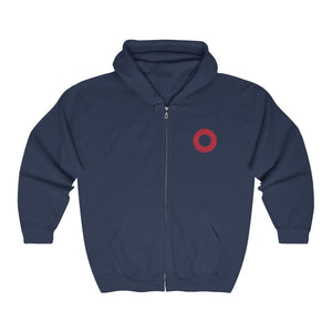 Red Circle Donut, Unisex Heavy Blend Full Zip Hooded Sweatshirt