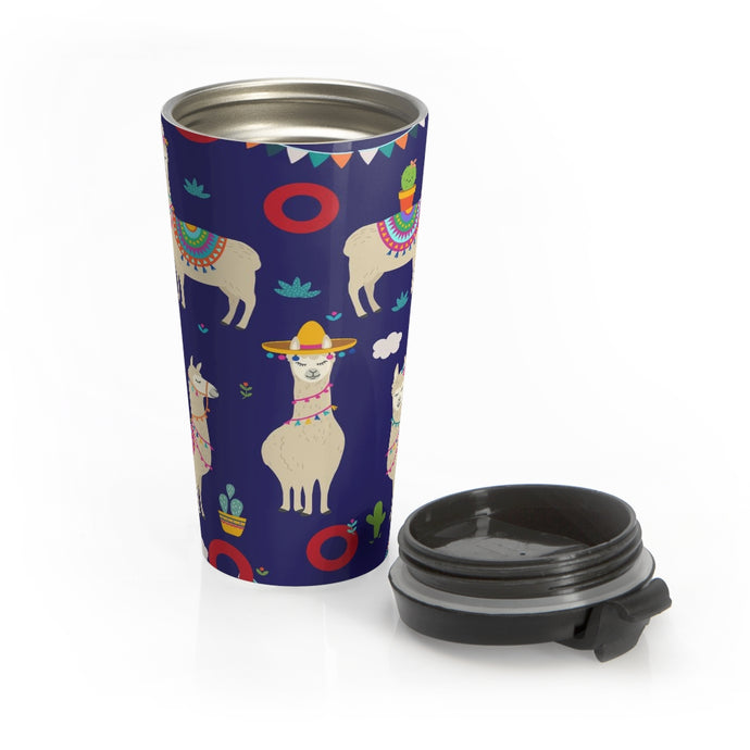 Red Circle Donut Llama Catcus Tumbler 15oz - Black Lid