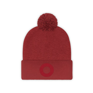 Red Circle Donut Embroidered Pom Pom Beanie