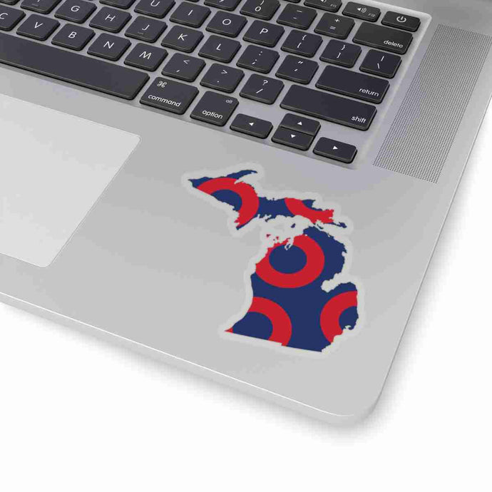 Michigan, Red Circle Donut Sticker - State Shape - PH
