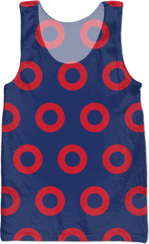 Red Henrietta Circle Donut Pattern Backpack Mens All Over Tank Top - PH