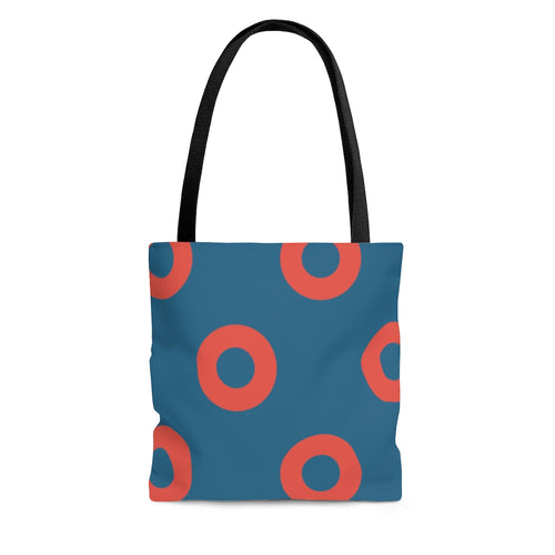 Fishman HEX Red Circle Donut Tote Bag
