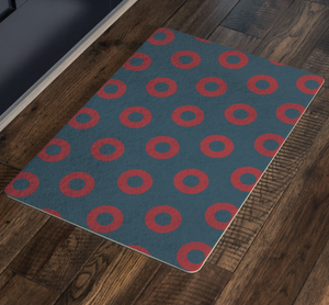 Red Donuts on Dark Teal Doormat, Red Circle Donut Door Mat