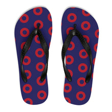 Load image into Gallery viewer, Red Henrietta Donut Unisex Flip-Flops - Medium Donuts version 2 - PH