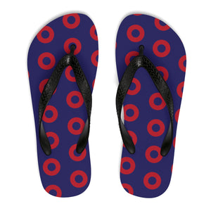 PH Red Circle Donut Unisex Flip-Flops - Medium Donuts version 2