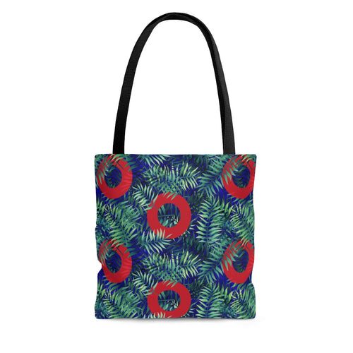 Red Circle Donuts on Palm Leaves on Black Background Tote Bag - PH
