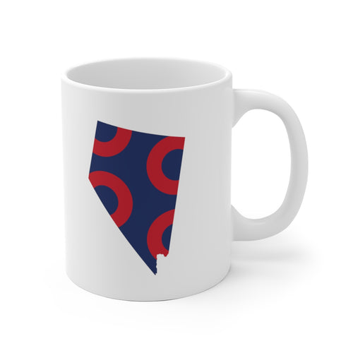Nevada, Red Circle Donut Coffee Mug - State Shape - PH