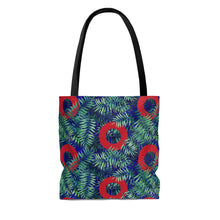 Load image into Gallery viewer, Red Circle Donuts on Palm Leaves on Black Background Tote Bag - PH
