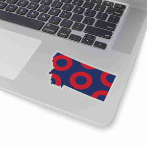 Montana, Red Circle Donut Sticker - State Shape - PH