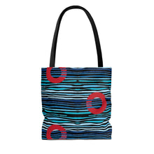 Load image into Gallery viewer, Red Circle Donuts on Light Blue Waves on Black Background Tote Bag - PH