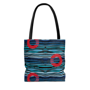Red Circle Donuts on Light Blue Waves on Black Background Tote Bag - PH