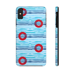 Red Circle Donuts on Light Blue Waves - Phone Cases - PH