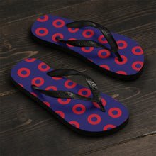 Load image into Gallery viewer, PH Red Circle Donut Unisex Flip-Flops - Medium Donuts version 2