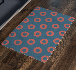 "Red Donuts on Tealish Blue Doormat, Red Circle Donut Door Matt 26"" x 18"",  HEX Correct Door Mat"