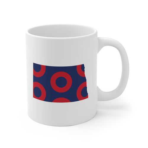 North Dakota, Red Circle Donut Coffee Mug - State Shape - PH