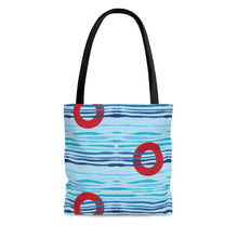 Load image into Gallery viewer, Red Circle Donuts on Light Blue Waves Tote Bag  - PH