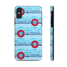 Load image into Gallery viewer, Red Circle Donuts on Light Blue Waves - Phone Cases - PH