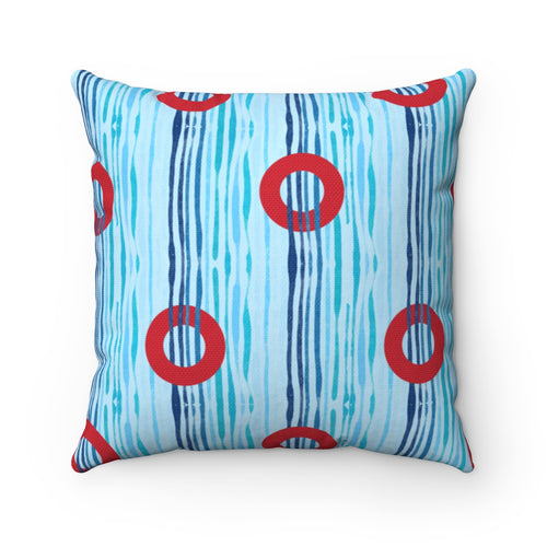 Red Circle Donuts on Light Blue Waves - Spun Polyester Square Pillow - PH