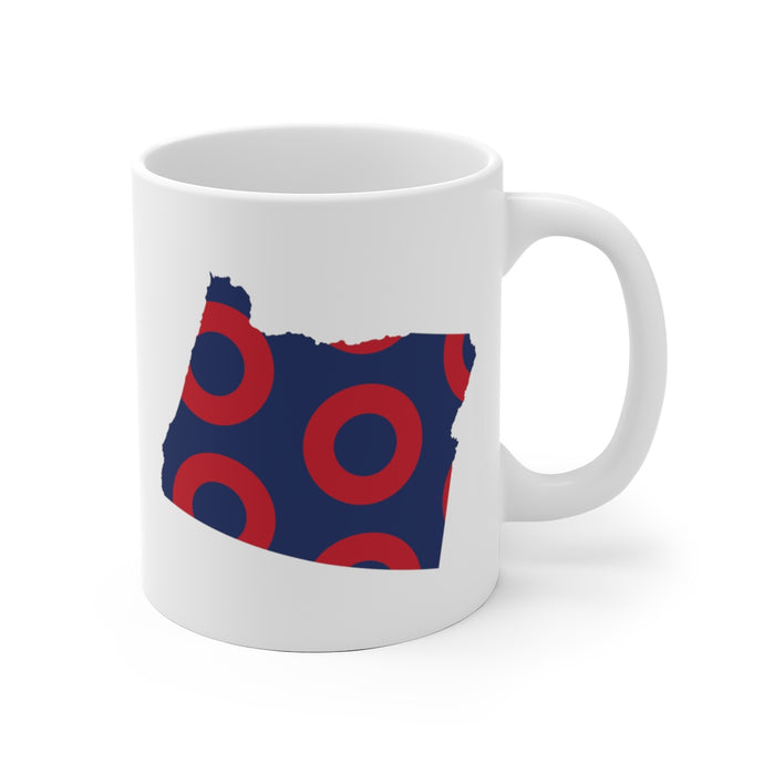 Oregon, Red Circle Donut Coffee Mug - State Shape - PH