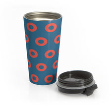 Load image into Gallery viewer, Fishman HEX Red Circle Donut Tumbler 15oz - White Boxes - Phish Donut - Black Lid