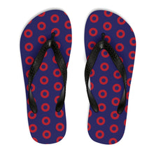 Load image into Gallery viewer, Red Henrietta Donut Unisex Flip-Flops - Small Donuts - PH