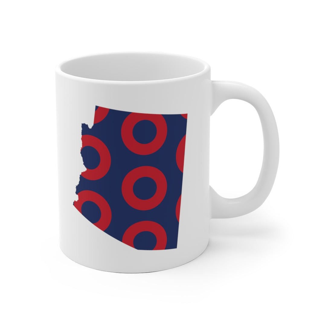 Arizona, Red Circle Donut Coffee Mug - State Shape - PH