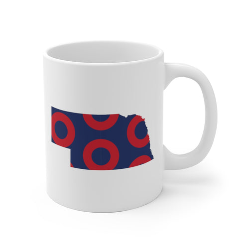 Nebraska, Red Circle Donut Coffee Mug - State Shape - PH
