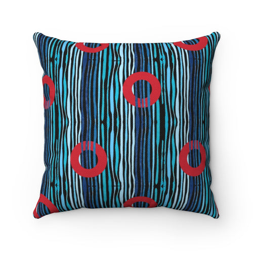Red Circle Donuts on Light Blue Waves on Black Background - Spun Polyester Square Pillow - PH