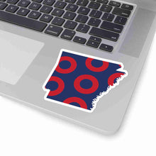 Load image into Gallery viewer, Arkansas, Red Circle Donut Sticker - State Shape - PH