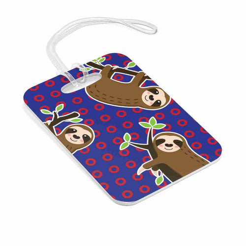 Sloth Red Circle Donut Bag Tag - Sloth Luggage Tag