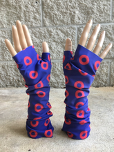 Load image into Gallery viewer, Red Circle Donut Fingerless Phancy wrist warmers, fingerless gloves - PH