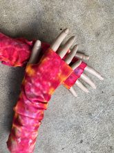 Load image into Gallery viewer, Tie Dye Wrist Warmers, Hand Dyed Hand Warmers, Wrist Warmers