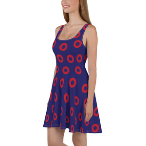 Red Henrietta Circle Donut Skater Dress - Medium Circles - Donut Dress - PH