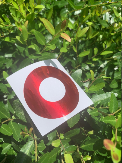 Chrome MIRROR Red Circle Donut Vinyl Sticker - PH