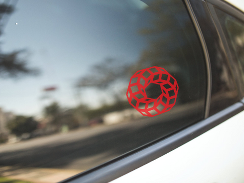 Red Geometry Circle Donut Vinyl Sticker Decal - PH
