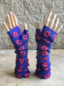 Red Circle Donut Fingerless Phancy wrist warmers, fingerless gloves - PH