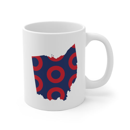 Ohio, Red Circle Donut Coffee Mug - State Shape - PH